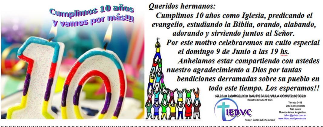 Invitacion Para Aniversario De Iglesia